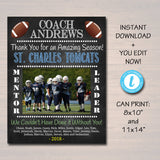 FOOTBALL Coach Gift, Coach Award, Soccer Team Gift, End of Season Banquet Party, Custom Best Coach Gift, Team Football Photo, Football Gift
