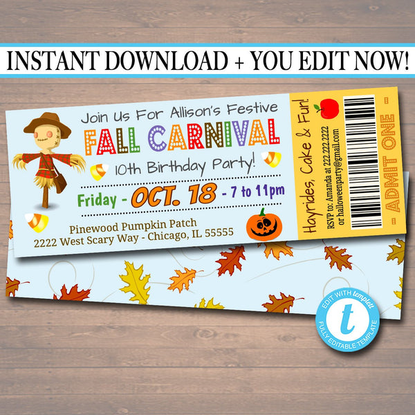 Printable Fall Carnival Ticket Invitation, Fall Festival Party Invitation, Birthday Party, Kid's Halloween Party Invite, INSTANT DOWNLOAD