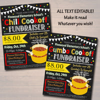 Chili Cookoff Dinner Fundraiser Flyer And Ticket Set - Editable Template