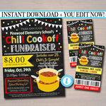 Chili Cookoff Dinner Fundraiser Flyer Ticket Set, pto pta Church Community School Benefit Event, Gumbo Soup Invite