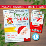 Donuts with Santa Flyer & tickets Breakfast with Santa Invitation, Kids Christmas Party, Printable Community Holiday Event Flyer