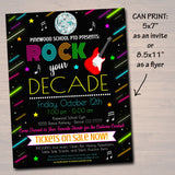 EDITABLE Rock The Decade School Dance Set, Dance Flyer Party Fundraiser Church Community Event, pto, pta, Printable Invite, INSTANT DOWNLOAD