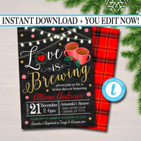 Love is Brewing Bridal Couples Shower, Tea Coffee Party, Wedding Christmas Holiday Invitation, Peppermint Latte,