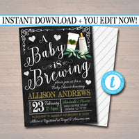 EDITABLE A Baby is Brewing Couples Shower, Coffee Party, Baby Sprinkle Chalkboard Invitation, Cozy Winter Baby Tea Party, INSTANT DOWNLOAD