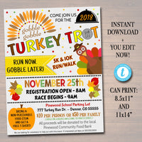EDITABLE Turkey Trot Flyer/Poster Printable Fall Invitation, Community Thanksgiving Event, Charity Fundraiser Autumn Run, 5k 10k Race Flyer