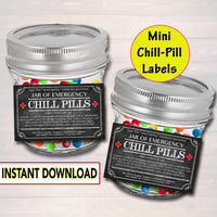 Mini Chill Pills Label, Chalkboard Label Gag Gift Professional Office, Christmas Gift, Birthday Gift, Boss Gift, Cowork Gift Printable Label