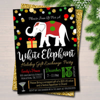 White Elephant Exchange Party Invitation, Bridal Shower Invite, Teacher Party Holiday Invite, Dirta Santa Party