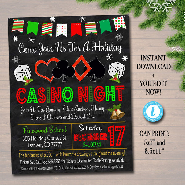 Holiday Casino Night Flyer School Event Cards Party Invitation, Christmas Church Community Bingo Poker, pto, pta,