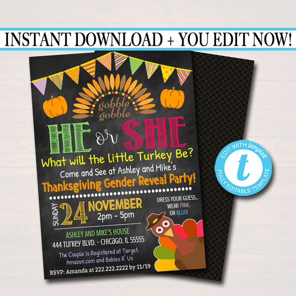EDITABLE Thanksgiving Gender Reveal Party Invitation, Fall Halloween Baby Shower He or She Little Pumpkin Turkey Party, INSTANT DOWNLOAD