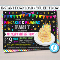 EDITABLE Pancakes and Pajamas Party Invitation, Birthday Party Invite, Kid Girl Teen Tween Brunch Party Digital Invitation, INSTANT DOWNLOAD