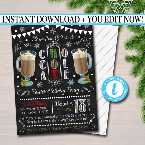 EDITABLE Hot Chocolate Xmas Party Invitation Christmas Party Invite, Holiday Hot Cocoa Party Digital Chalkboard Invitation, INSTANT DOWNLOAD