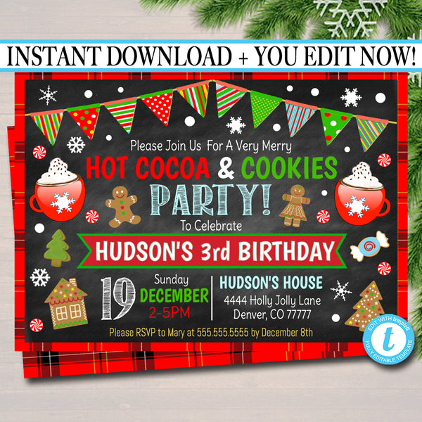 Hot Cocoa & Cookies Xmas Party Invitation Kids Christmas Birthday Party Invite Holiday Cookie Party  Plaid