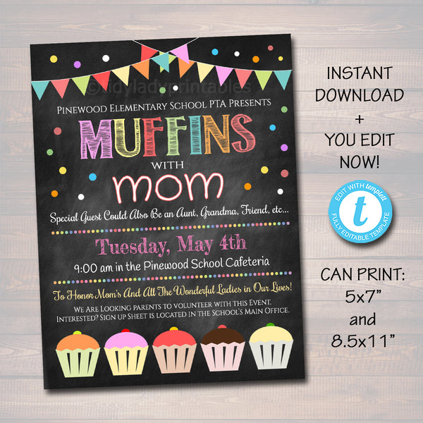 Muffins With Mom Event Invite & Flyer Printable Template