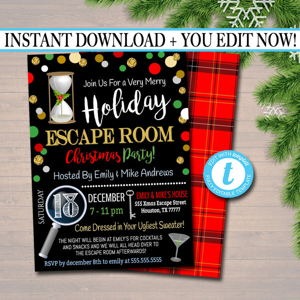 Printable Holiday Escape Room Invitation, Christmas Party Invitation, Work Corporate Party Invite Adult Christmas Event, Ugly Sweater Invite