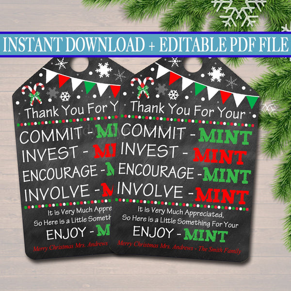 Printable Xmas Thank You Tags, Volunteer Mint Labels, Printable, INSTANT + EDITABLE, Christmas Holiday Gift, PTA Staff Gift Appreciation