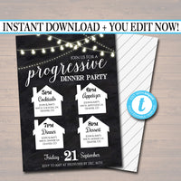 Editable Progressive Dinner Party Invitation, Neighborhood Potluck Party Invite, Chalkboard Printable, House Round Robin, INSTANT DOWNLOAD