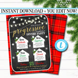 Editable Holiday Progressive Dinner Party Invitation, Christmas Potluck Party Invite Chalkboard Printable, Xmas Round Robin INSTANT DOWNLOAD