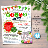 Holiday Bingo Night Flyer, Printable PTA, PTO School Family Fundraiser Event, Christmas Community Church Printable  Invite