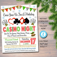 EDITABLE Holiday Casino Night Flyer School Event Cards Party Invitation, Christmas Church Community Bingo Poker, pto, pta, INSTANT DOWNLOAD