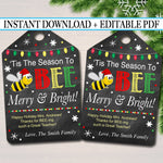 Printable Christmas Bee Favor Tags, Volunteer Labels Printable INSTANT + EDITABLE Thank You Gift PTA Staff Gift Teacher Holiday Honey Balm