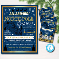 North Pole Polar Express Train Event with Santa Flyer & Ticket Invitation, Kids Christmas Party, Printable School Church Holiday