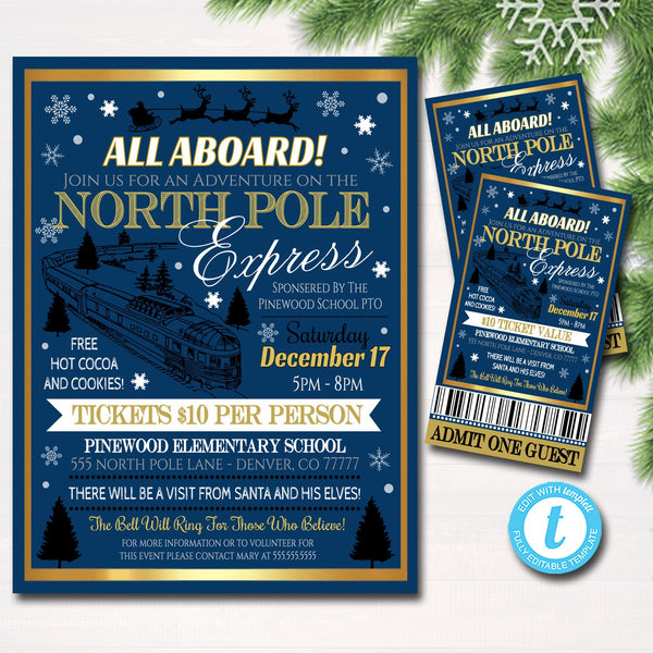 image about Polar Express Tickets Printable called EDITABLE North Pole Polar Categorical Prepare Celebration with Santa Flyer Ticket Invitation, Small children Xmas Occasion, Printable Higher education Church Vacation