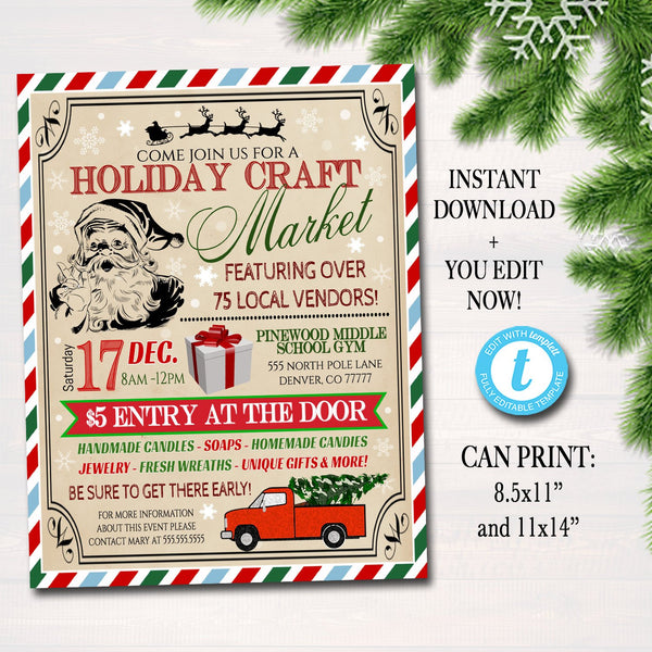 EDITABLE Holiday Craft Fair Flyer Christmas Craft Show Invitation Christmas Party Invitation Printable Community Holiday Event Church Poster