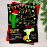 Margaritas and Mistletoe Invitation Christmas Party Invite Holiday Party Adult Christmas Party Holiday Feliz Navidad  Invite