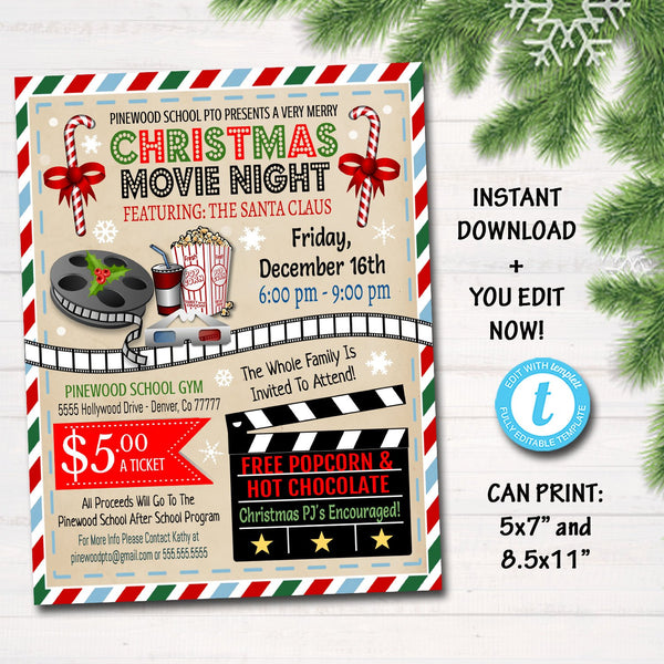 EDITABLE Christmas Movie Night Flyer, Printable PTA PTO Flyer Xmas School Church Benefit Fundraiser Event Poster Digital Cinema Party Invite