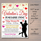 Adult Valentine's Day Event, Fundraiser Flyer Party Invite, Church Community, Sweetheart Prom, Restaurant Invite