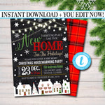 Holiday Housewarming Xmas Invitation, Christmas Party Invite, Holiday Cocktail Party  Plaid Invitation,