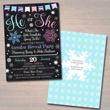 EDITABLE Gender Reveal Party Invitation, Winter Invite, Team Pink or Blue Baby Shower, What Will The Little Snowflake Be? INSTANT DOWNLOAD