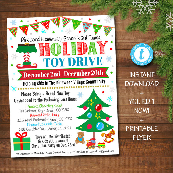 EDITABLE Holiday Toy Drive Flyer, Printable PTA PTO Flyer, School Church Xmas Fundraiser Poster Christmas Invite, Pto Pta Charity Invitation