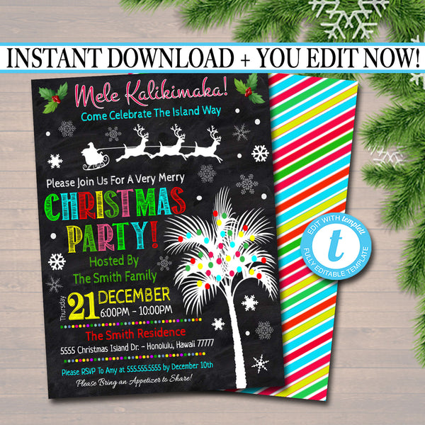 Mele Kalikimaka Christmas Party Invitation, Hawaiian Xmas Invite, Tropical Holiday Invite, Dirta Santa Gift Party