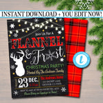 EDITABLE Flannel and Frost Xmas Party Invitation, Christmas Party Invite, Holiday Cocktail Party Digital Plaid Invitation, INSTANT DOWNLOAD