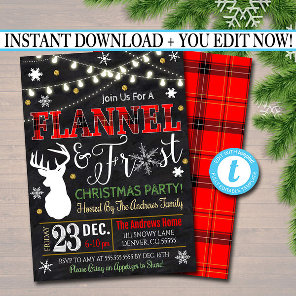 Flannel and Frost Xmas Party Invitation, Christmas Party Invite, Holiday Cocktail Party  Plaid Invitation,