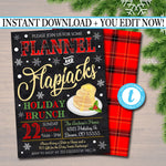 EDITABLE Flannel and Flapjacks, Pancakes and Pajamas Xmas Party Invitation, Christmas Party Invite Holiday Brunch Party Digital Plaid Invite