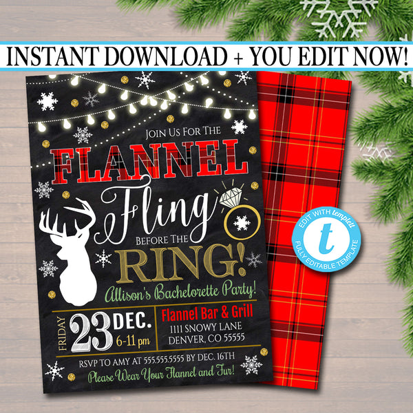 EDITABLE Flannel Fling Before The Ring Bachelorette Party Invite, Flannel and Frost Xmas Party Invitation, Digial Plaid Christmas Party