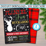 EDITABLE Flannel and Fun Xmas Boy First BIrthday Party Invitation, Deer Rustic Lumberjack, Christmas Holiday Plaid Invite, INSTANT DOWNLOAD