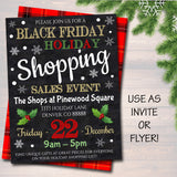 Holiday Shopping Invitation, Boutique Store Invitation Printable, Christmas Xmas Template, Black Friday Holiday Gift Shopping Flyer