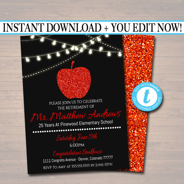 Teacher Retirement Invitation Printable, Education Teacher Degree College Graduate, Grad Party Red Apple Invite