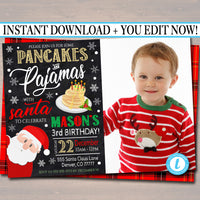 Pancakes and Pajamas Xmas Birthday Party Invitation, Christmas Photo Invite, Holiday Santa Brunch Plaid Invitation