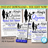 Mother Son Dance Set School Dance Flyer Party Invitation, A King's First Queen, Church Community Event, Pto, Pta,
