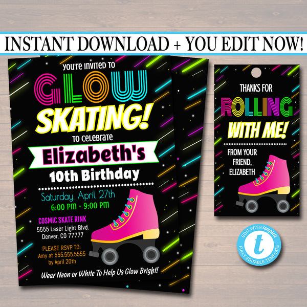 Glow Skating Birthday Invitation, Cosmic Skatel Neon Invite Birthday , Glow in Dark Thank You Party Tags