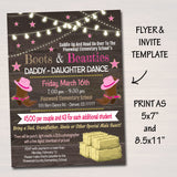 Daddy Daughter Barn Dance Set School Dance Flyer Invitation, Boots & Beauties, Church Community Event, pto, pta