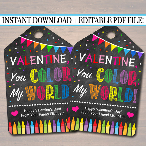 EDITABLE Crayon Valentine's Day Gift Tags, Friend Classroom, You Color My World Printable, Editable Valentine Marker Tags, INSTANT DOWNLOAD