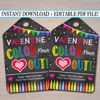 EDITABLE Crayon Valentine's Day Gift Tags, Friend Classroom, Color Your Heart Out Printable Editable Valentine Marker Tags, INSTANT DOWNLOAD