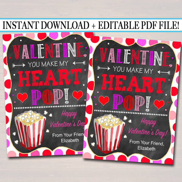 EDITABLE Popcorn Valentine's Day Gift Tags, Friend Classroom Classmate Printable, Valentine You Make My Heart Pop Tags, INSTANT DOWNLOAD