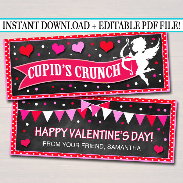 EDITABLE Cupid's Crunch Valentine's Day Gift Tags, Friend Classroom Classmate Printable, Valentine's Day Treat Bag Toppers, INSTANT DOWNLOAD