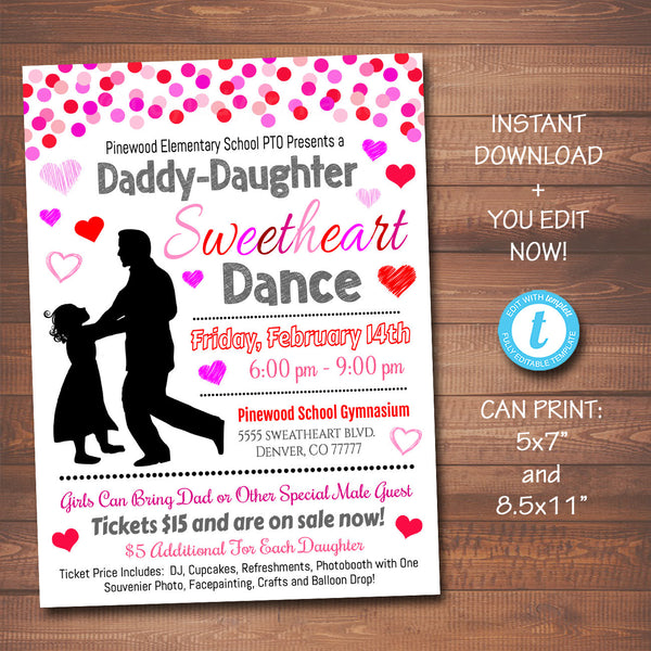 EDITABLE Daddy Daughter Sweetheart Valentine's Day Dance, School Dance Flyer Party Invite, Church Community Event, pto pta, INSTANT DOWNLOAD